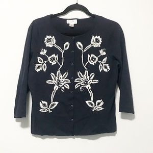 Ann Taylor Loft Embroidered Sweater Cardigan Large